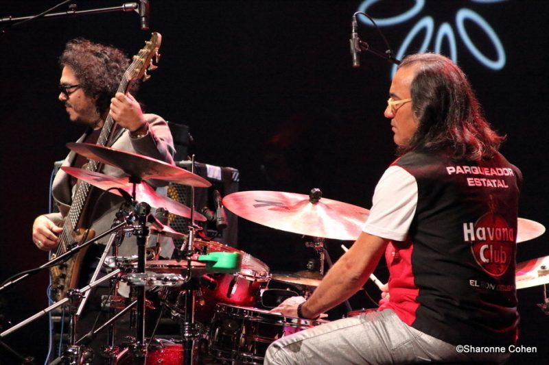 "Armando Gola (left) and Horacio ""El Negro"" Hernandez, of Gonzalo Rubalcaba's Volcan trio, perform at the 2016 Montreal International Jazz Festival"