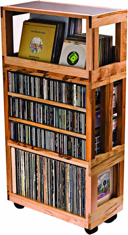 An interlocking record-shelf system by Mapleshade