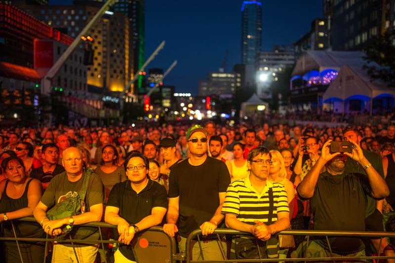 The crowd at the 2016 Montreal International Jazz Festival, during a performance by the Campbell Brothers