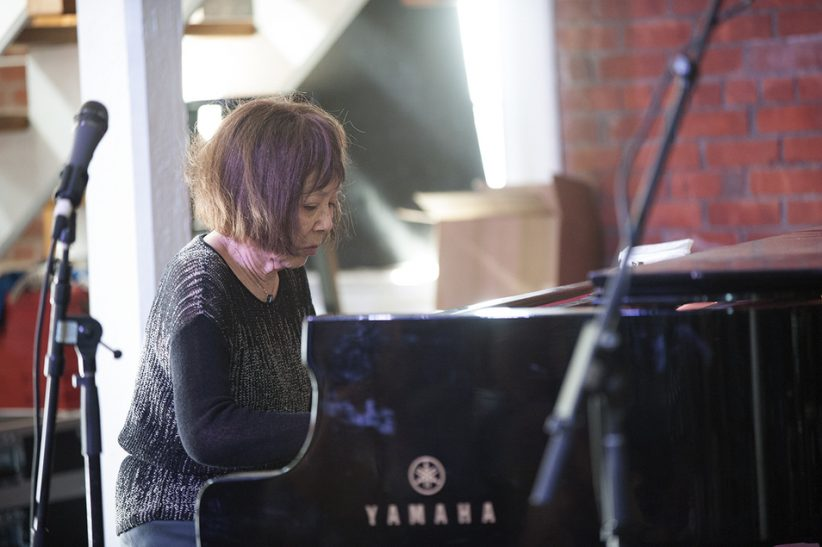 Toshiko Akiyoshi performs a solo set on the Storyville Stage at the 2016 Newport Jazz Festival