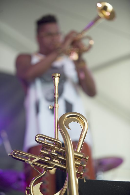 Christian Scott aTunde Adjuah leads his Stretch Music project at the 2016 Newport Jazz Festival
