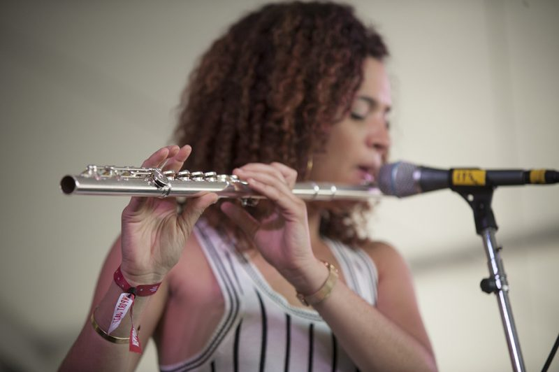 Elena Pinderhughes performs in Christian Scott aTunde Adjuah's Stretch Music at the 2016 Newport Jazz Festival