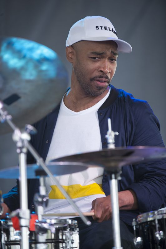 Eric Harland performs with Dave Holland, Lionel Loueke and Chris Potter at the 2016 Newport Jazz Festival