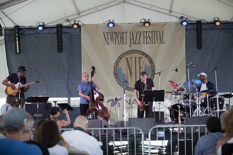 Lionel Loueke, Dave Holland, Chris Potter and Eric Harland (from left) perform at the 2016 Newport Jazz Festival
