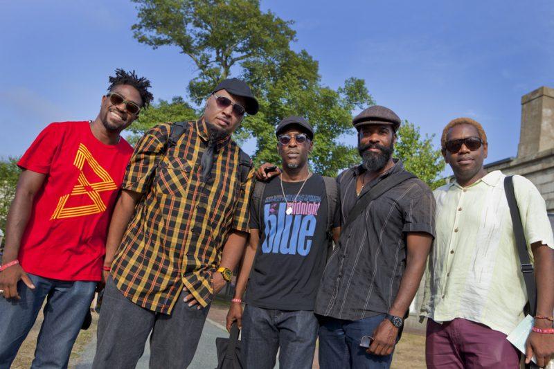 From left: Yunior Terry, Terreon Gully, Donald Edwards, Brad Jones and Yosvany Terry, Newport Jazz Festival 2016