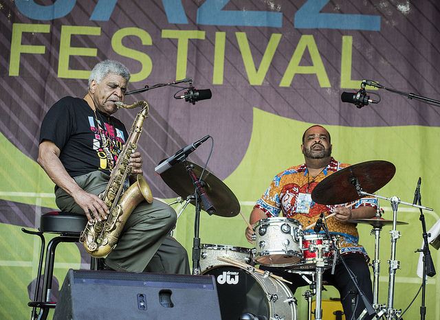 George Coleman and George Coleman Jr. perform at the 2016 Montclair Jazz Festival
