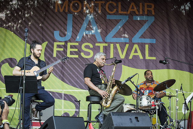 From left: Yotem Silberstein performs with George Coleman and George Coleman Jr. at the 2016 Montclair Jazz Festival