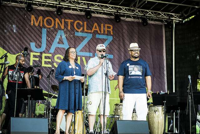 From left: Emcees S. Epatha Merkerson and Gary Walker, with Artistic Director Christian McBride at the 2016 Montclair Jazz Festival