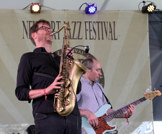 Saxophonist Donny McCaslin and bassist Nate Wood at the 2016 Newport Jazz Festival