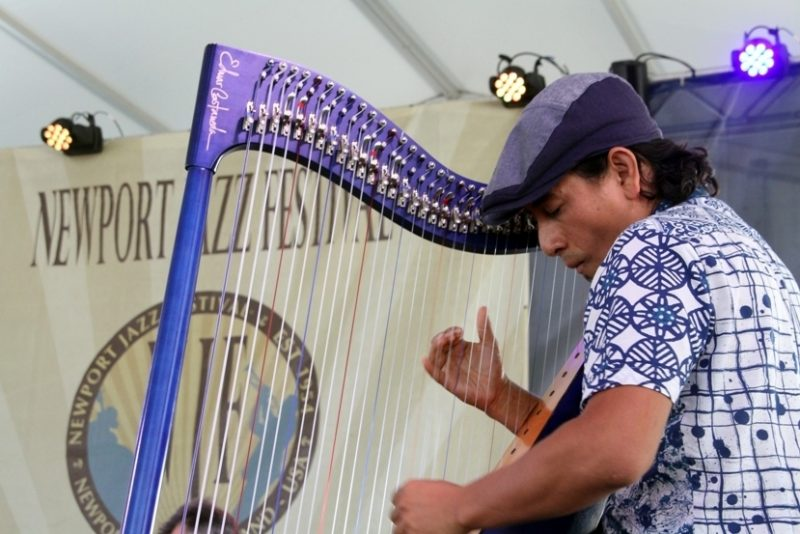Colombian harpist Edmar Castañeda at the 2016 Newport Jazz Festival