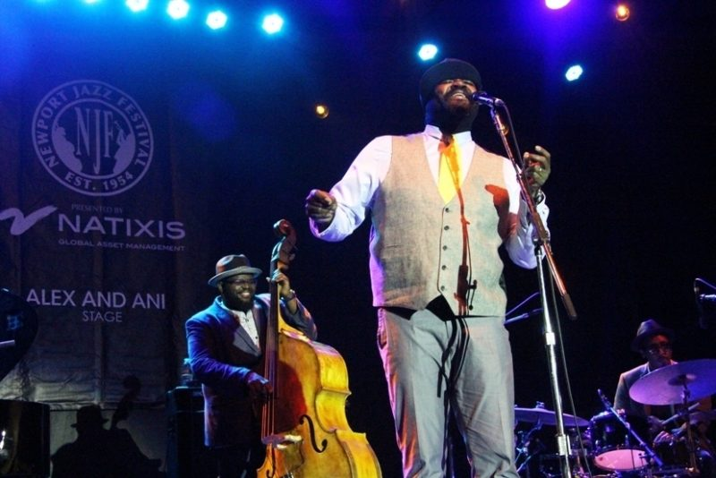 Gregory Porter with bassist Jahmal Nichols and drummer Emanuel Harrold at the 2016 Newport Jazz Festival