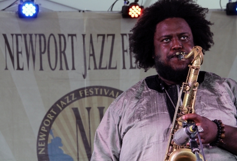 Saxophonist Kamasi Washington performs at the 2016 Newport Jazz Festival