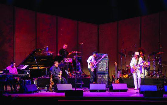 Mega Nova performs at the Hollywood Bowl in August 2016. From left: Herbie Hancock, Wayne Shorter, Karl Perazzo, Marcus Miller, Carlos Santana and Cindy Blackman Santana  image 0