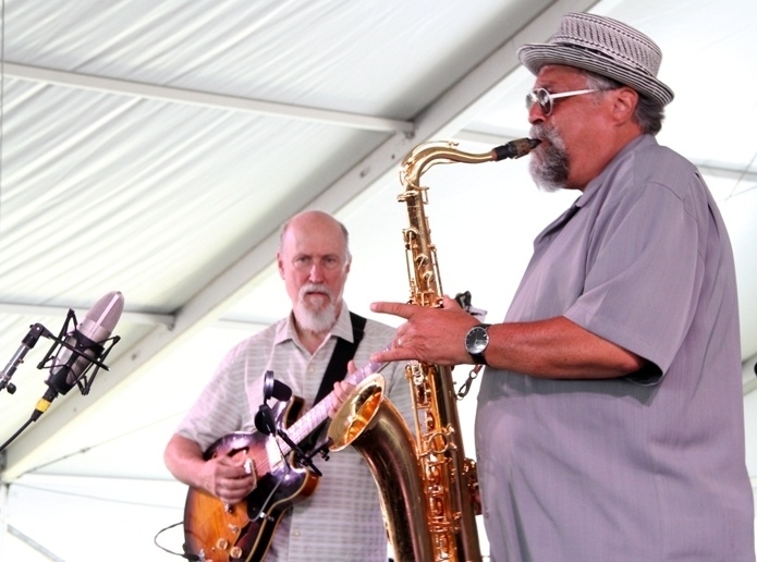 Guitarist John Scofield and saxophonist Joe Lovano at the 2016 Newport Jazz Festival