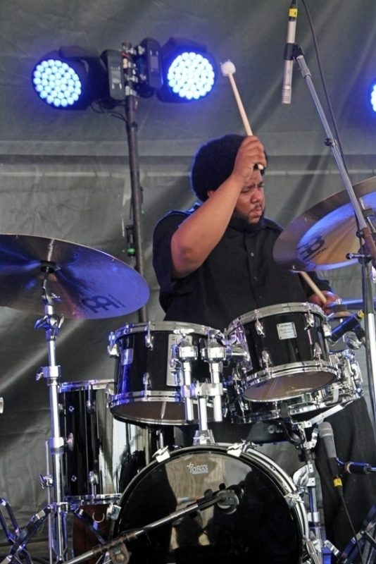 Drummer Tyshawn Sorey at the 2016 Newport Jazz Festival