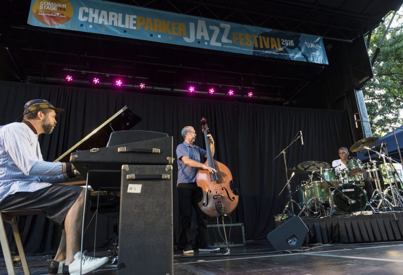 From left: Jason Moran, Dave Holland and Jack DeJohnette perform in the closing concert of the 2016 Charlie Parker Jazz Festival in Tompkins Square Park in New York City on Aug. 28