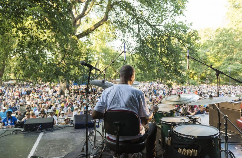 Jack DeJohnette performs in the closing concert of the 2016 Charlie Parker Jazz Festival in Tompkins Square Park in New York City on Aug. 28