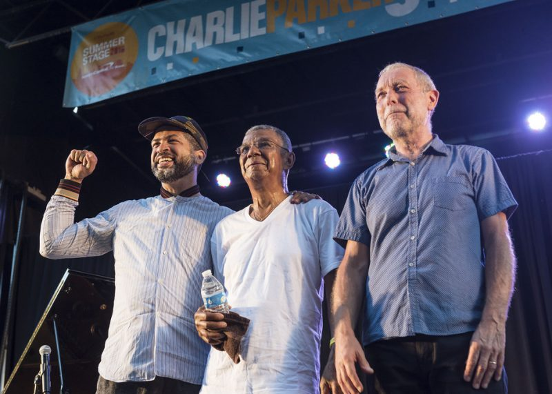 From left: Jason Moran, Jack DeJohnette and Dave Holland perform in the closing concert of the 2016 Charlie Parker Jazz Festival in Tompkins Square Park in New York City on Aug. 28