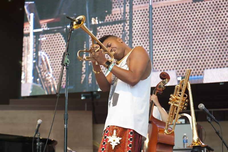 Christian Scott aTunde Adjuah performs at the 2016 Chicago Jazz Festival