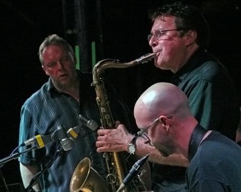 Trumpeter/bandleader John Allmark, tenor saxophonist Jerry Vejmola and baritone saxophonist Austin Yancey