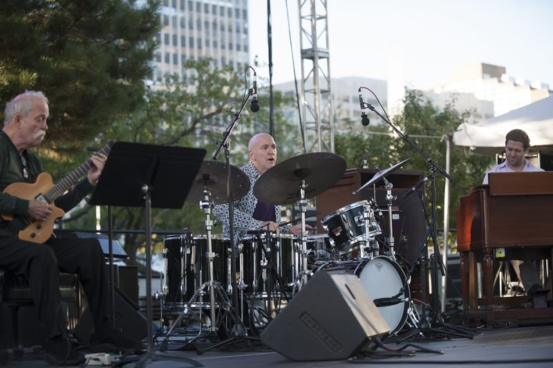 John Abercrombie, Adam Nussbaum and Jared Gold (from left) perform at the 2016 Detroit Jazz Festival