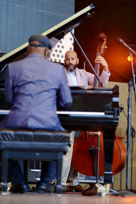 Orrin Evans (left) and Eric Revis of Tarbaby perform at the 2016 Chicago Jazz Festivla