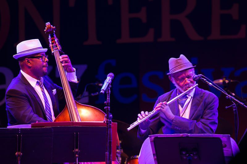 Christian McBride (left) and Hubert Laws pay homage to Quincy Jones at the 2016 Monterey Jazz Festival