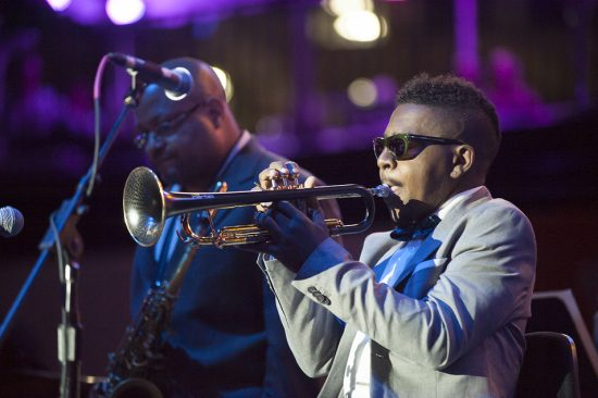 Roy Hargrove, backed by his quintet and a string orchestra, performs at the 2016 Detroit Jazz Festival  image 3
