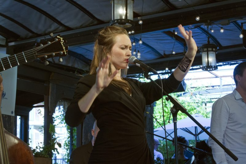 Sasha Masakowski performs with the Sidewalk Strutters on the Gallow Green Stage at the 2016 New York Hot Jazz Festival
