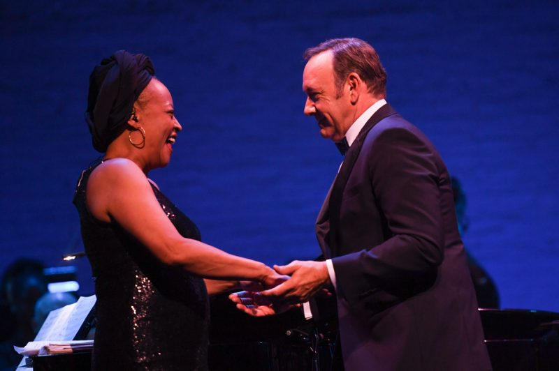 "Kevin Spacey introduces Cassandra Wilson at ""100: The Apollo Celebrates Ella!"" on Oct. 22, 2016"