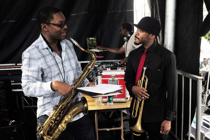 Special guest Ravi Coltrane (left) and Revive Big Band director Igmar Thomas backstage at the 2016 DC Jazz Festival