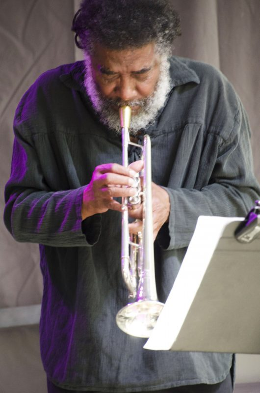 Wadada Leo Smith performing with Vijay Iyer at the 2016 Pittsburgh Jazzlive Festival