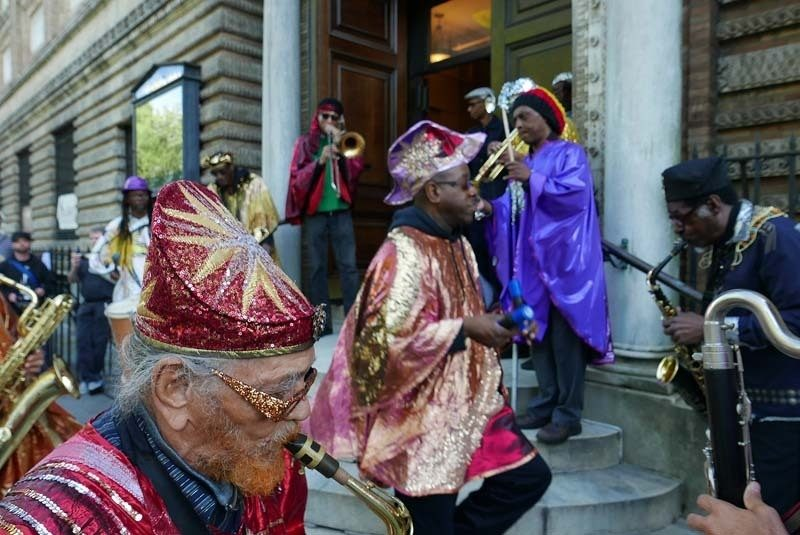 Marshall Allen and the Arkestra head into Judson Memorial Church in Greenwich Village, home base for the 2016 Vision Festival, following a parade through Washington Square Park