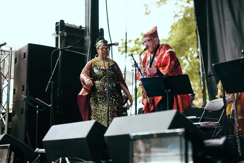 In July, Allen and Arkestra vocalist Tara Middleton bring the message of Sun Ra to the Pitchfork Music Festival in Chicago's Union Park