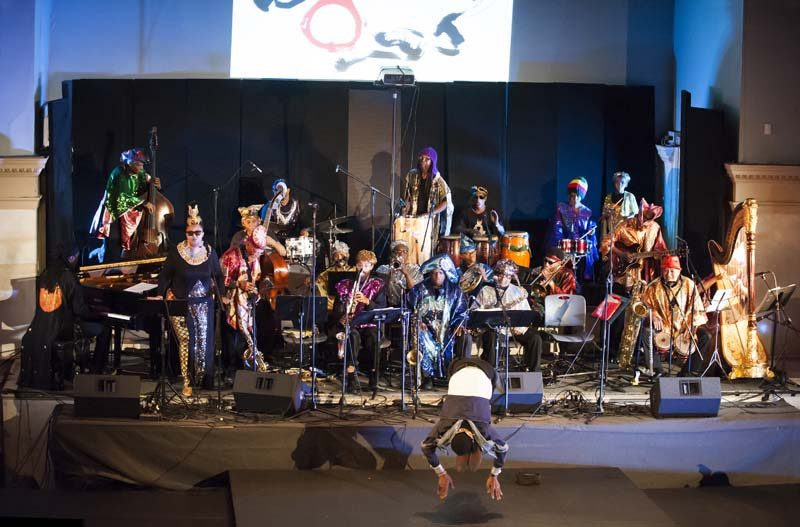During the Arkestra's headlining Vision Festival performance in New York in June, saxophonist Knoel Scott dazzles the crowd by somersaulting from one riser to another and dancing