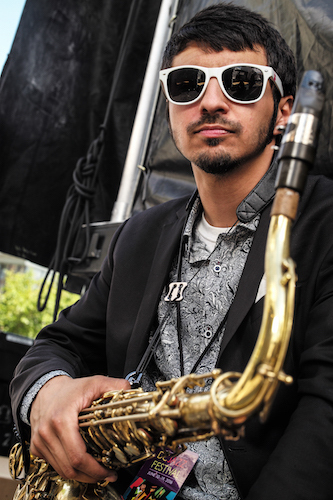 Saxophonist Elijah Jamal Balbed, a member of the Chuck Brown Band, backstage at the 2016 DC Jazz Festival