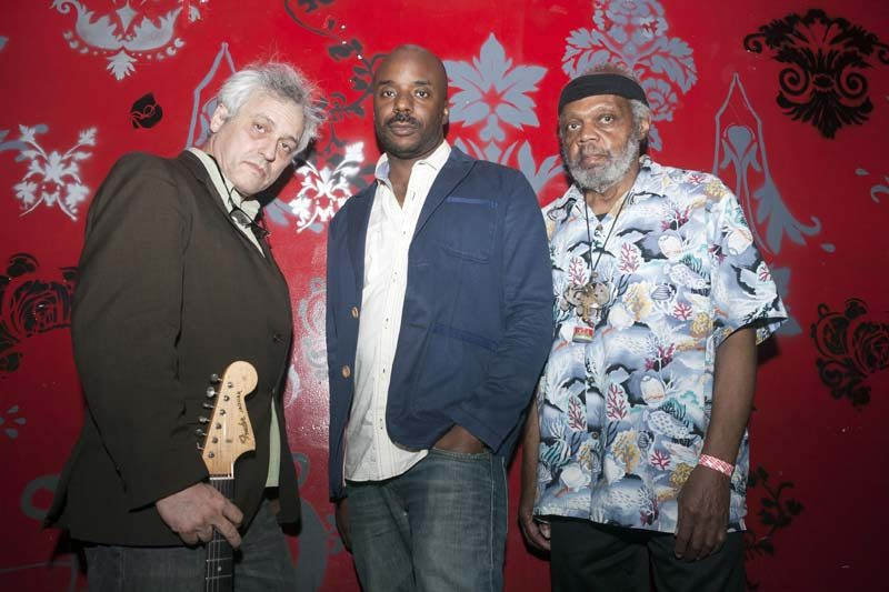 """[Ayler] created a kind of ritual process for musicians to undergo and [for] audiences to participate in,"" says guitarist Marc Ribot, seen here with trio-mates Chad Taylor and Henry Grimes (right), an alum of Ayler's mid-'60s groups"