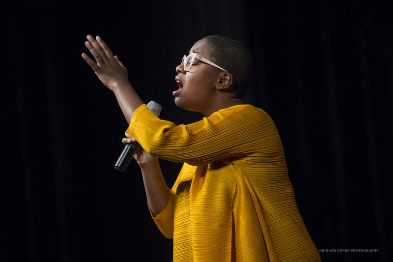 Cécile McLorin Salvant performing at the 2016 Exit 0 International Jazz Festival in Cape May, NJ