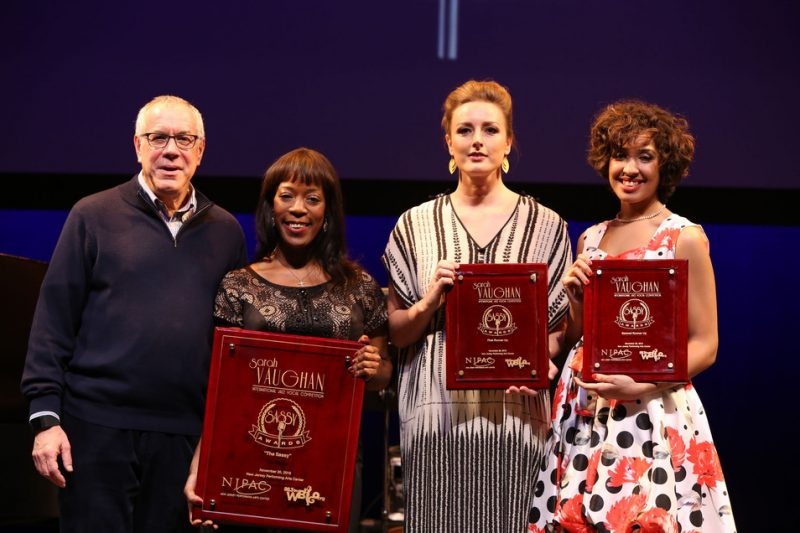 From left: NJPAC President and CEO John Schreiber, Deelee Dubé (first place), Sinne Eeg (second) and Lauren Scales (third) at the 2016 Sarah Vaughan International Jazz Vocal Competition