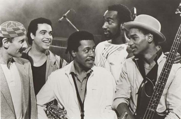 Weather Report in the mid-1980s (l. to r.): Joe Zawinul, Mino Cinelu, Wayne Shorter, Omar Hakim and Victor Bailey