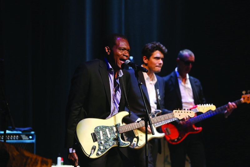 "From left: Robert Cray, John Mayer and Pino Palladino at ""A Great Night in Harlem"""