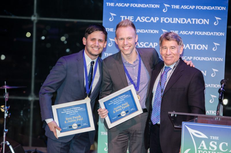 Benj Pasek and Justin Paul receive their Harold Adamson Lyric Awards from Stephen Schwartz at the 2016 ASCAP Foundation Honors