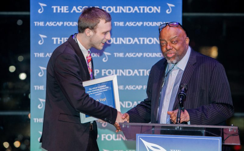 Jack Vogt receiving the Louis Armstrong Scholarship at the University of New Orleans from Stanley Crouch at the 2016 ASCAP Foundation Honors
