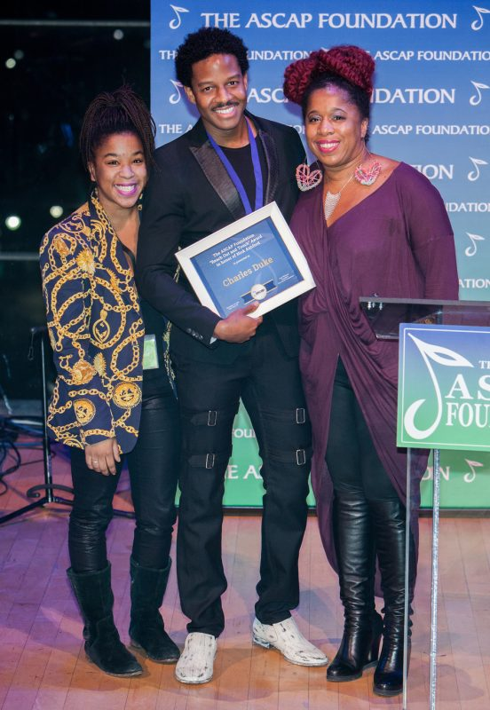 "Asia and Nicole Ashford present Charles Duke with the ""Reach Out and Touch"" Award in honor of Nick Ashford at the 2016 ASCAP Foundation Honors"