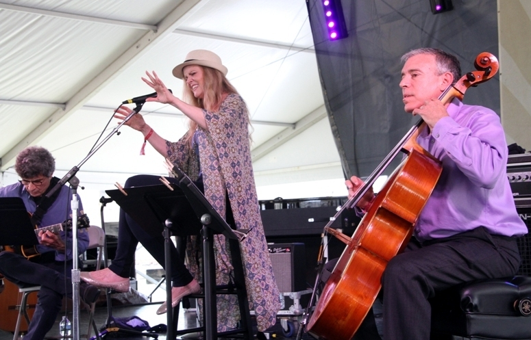 """Singer Tierney Sutton performed her """"After Blue"""" Joni Mitchell project with the subtle accompaniment of guitarist Serge Merlaud and cellist Mark Summer at the 2016 Newport Jazz Festival"""