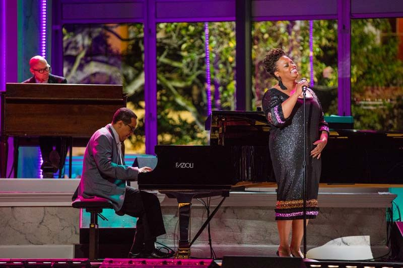 Beasley, at back, supports Dianne Reeves and Danilo Pérez at the 2016 International Jazz Day Global Concert, held at the White House