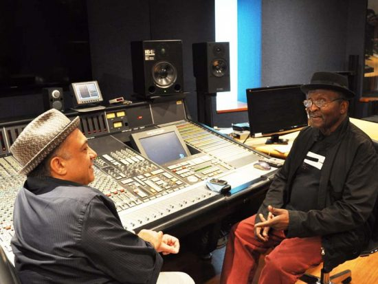 Andy Bey (right) and writer/educator Ashley Kahn in session at New York University's Clive Davis Institute of Recorded Music image 0