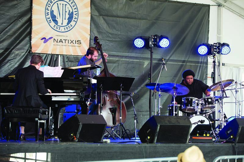 Tyshawn Sorey's Alloy, featuring pianist Cory Smythe and bassist Christopher Tordini, performs at the Newport Jazz Festival in July