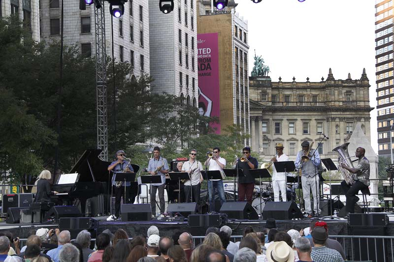 Carla Bley leads Charlie Haden's Liberation Music Orchestra at the 2015 Detroit Jazz Festival (photo courtesy of the Detroit Jazz Festival)