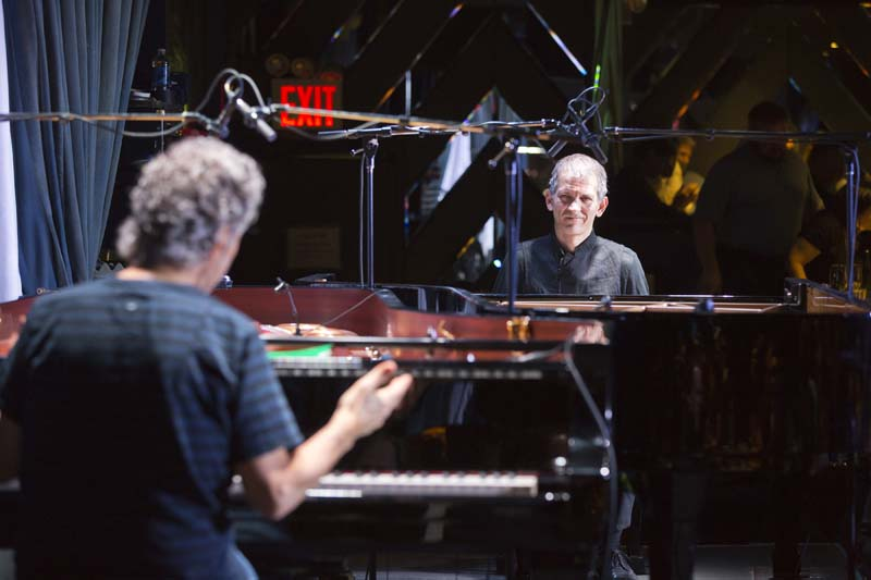 Chick Corea in duet with Brad Mehldau (photo by Alan Nahigian)